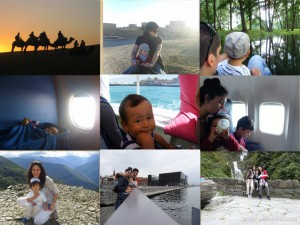 En familia en camello, , lancha, barco, avión, auto, tren: buen viaje!!!